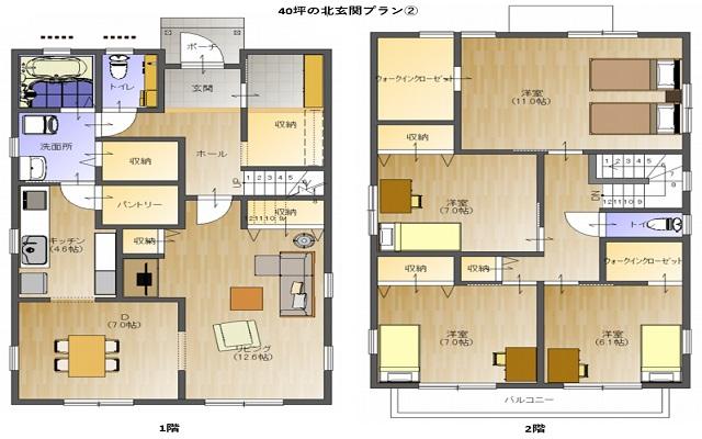 40坪の北玄関プラン(パターン②)